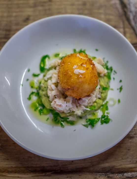 Schooners, St Agnes White Crab with smashed avocado and a crispy egg