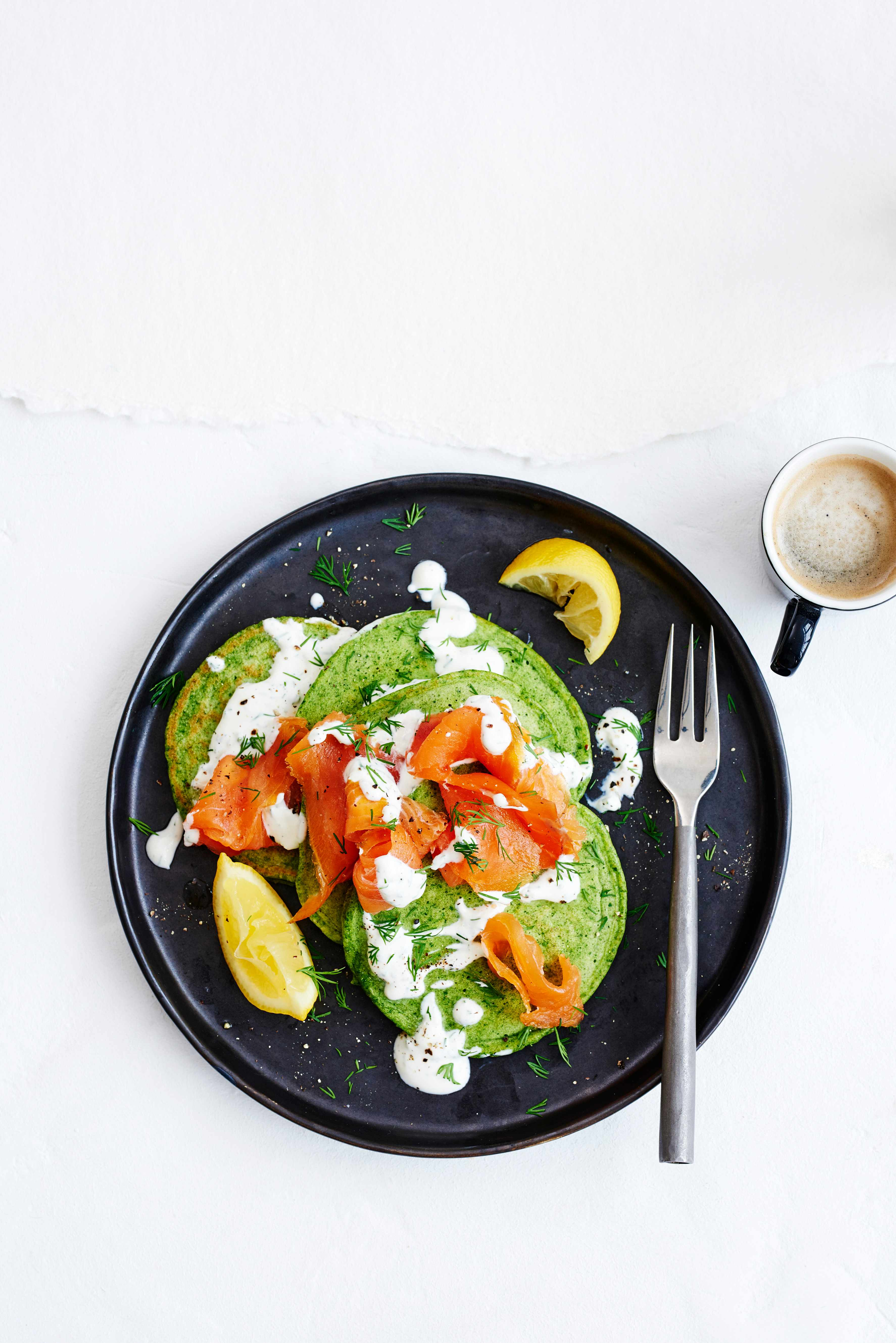 Spinach Pancake Recipe with Smoked Salmon