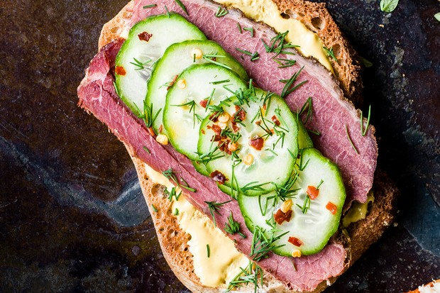 salt beef, mustard mayo and pickled cucumbers