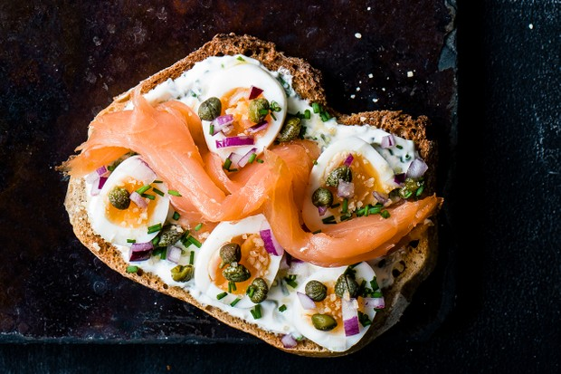 smoked salmon, egg and caper