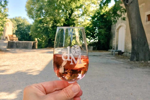 Glass of rose wine at Eurocamp