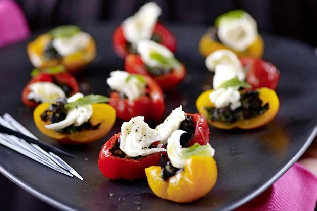 Peppadews stuffed with green olive tapenade and mozzarella