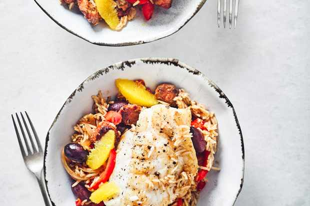Monkfish Recipe with Chorizo, Sherry Wine and Rice