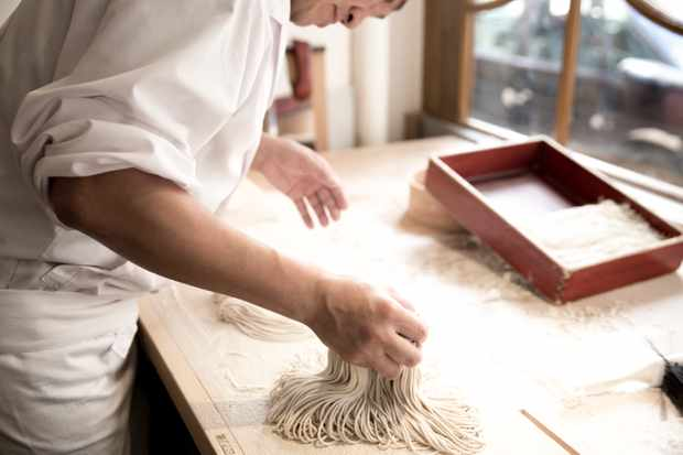 Making Soba Noodles in the Soba Room at Yen Restaurant