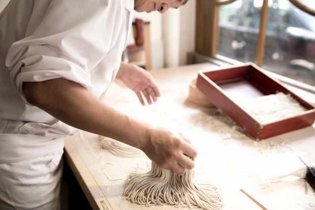 Making Soba Noodles in the Soba Room at Yen Restaurant