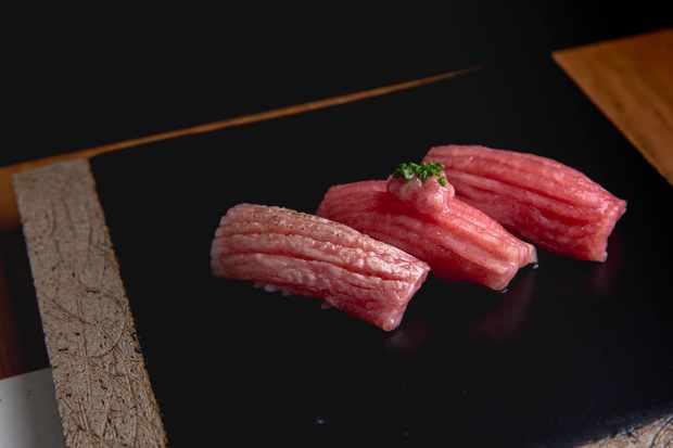Three pieces of Nigiri at Yen Japanese London
