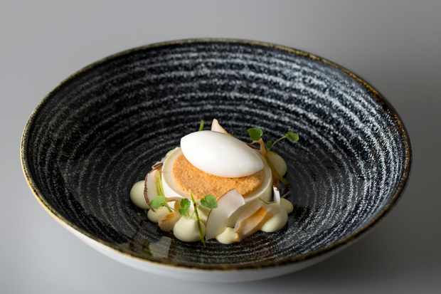 Coconut and lime panna cotta with lychee sorbet and pandan cremeaux