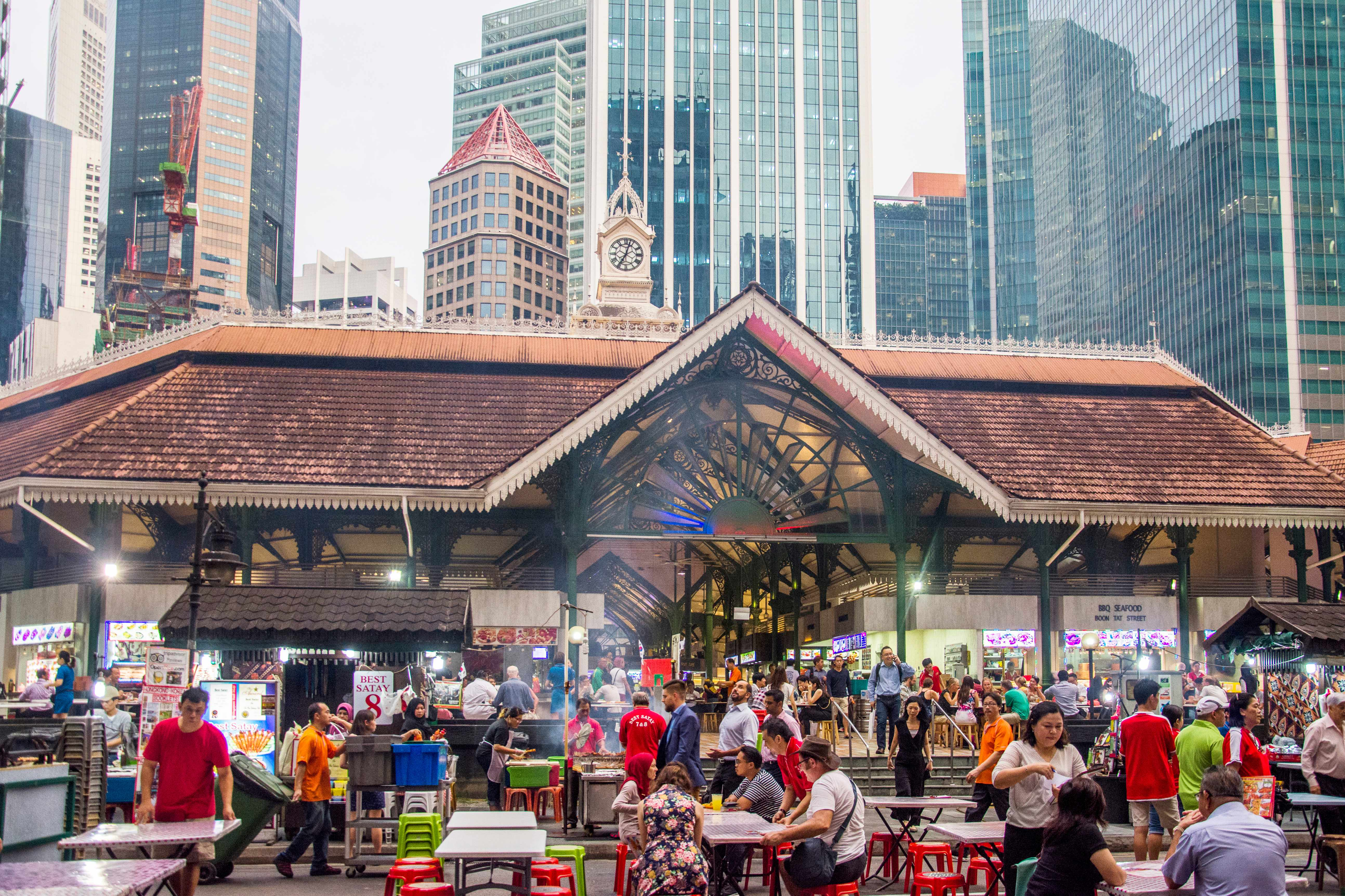 Lau Pa Sat food court (1894) on Raffles Quay in the Financial District, Singapore