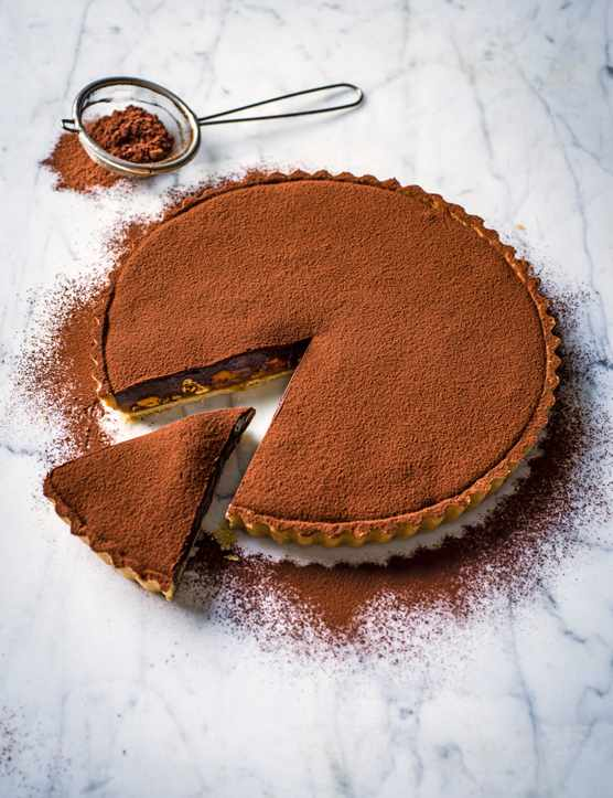Caramel Tart Recipe with Chocolate Ganache, Nuts and Coffee