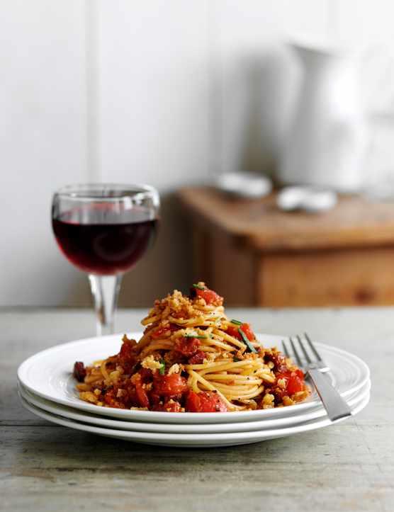 Chorizo Spaghetti Recipe with Pangritata
