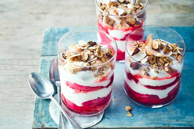 Rhubarb Breakfast Pots with Granola Topping