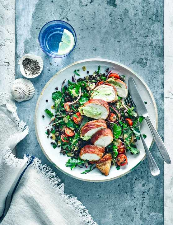 Prosciutto Wrapped Chicken Recipe With Puy Lentils