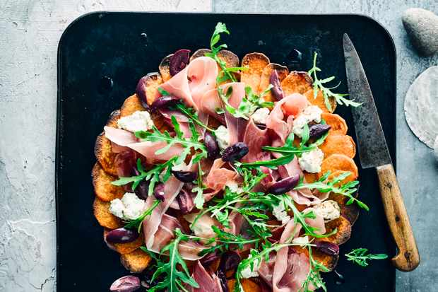 Sweet Potato Pizza Crust Recipe with Ham and Olives