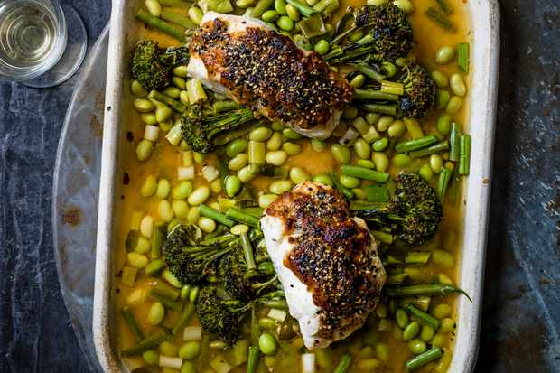 Miso Fish Recipe with Broccoli, Sesame and Beans