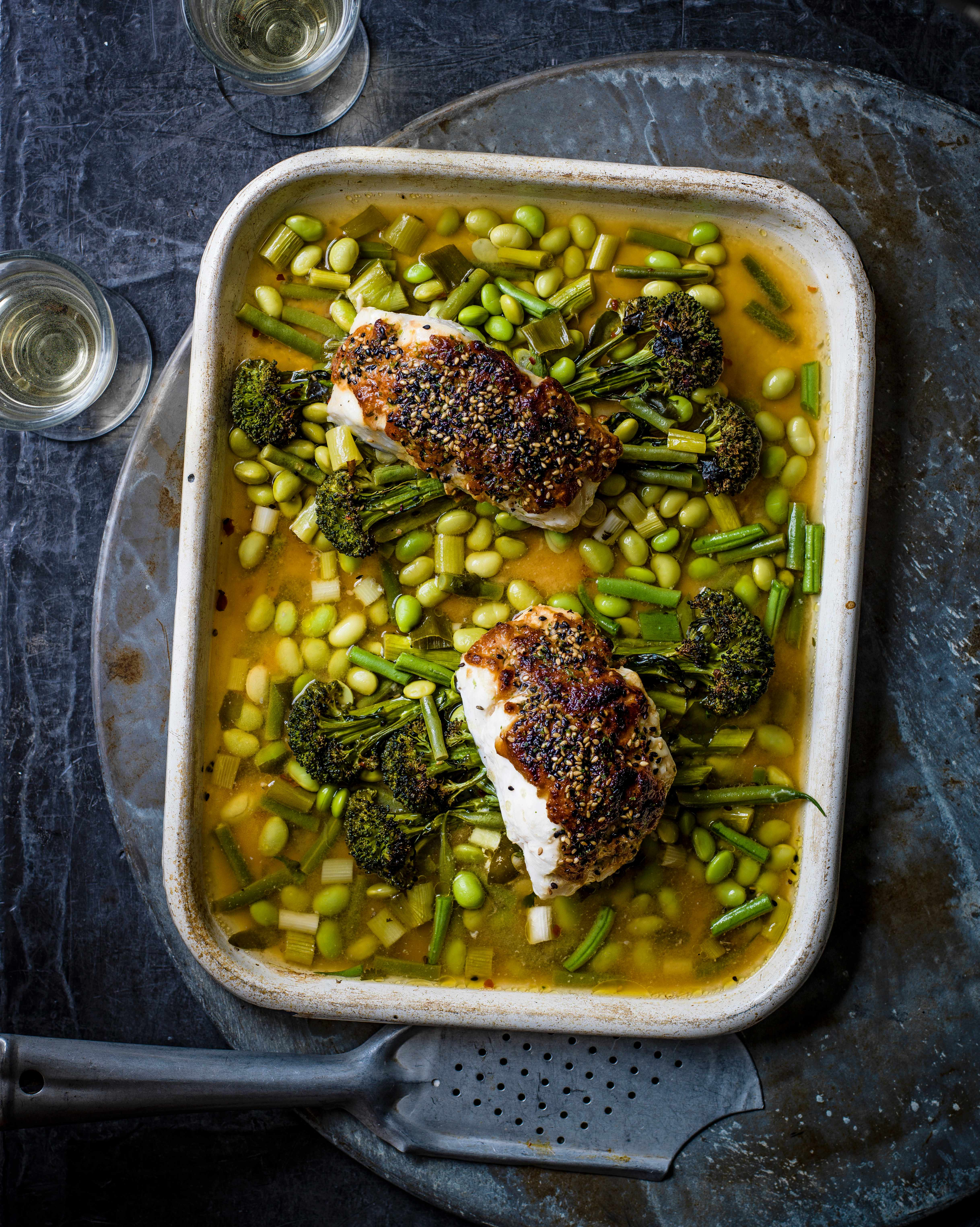 Miso Fish Tray Bake Recipe with Broccoli and Beans