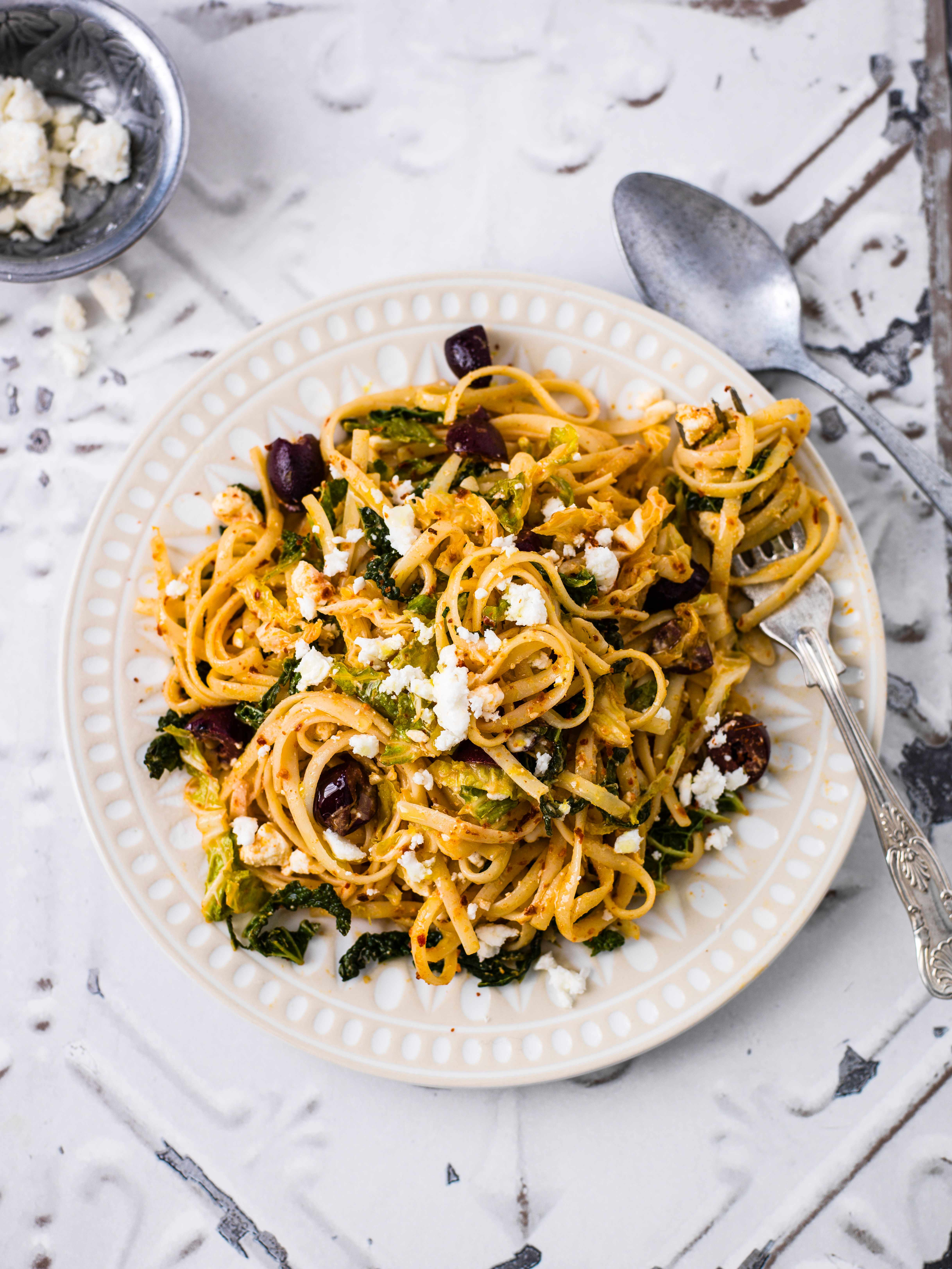 Linguine Recipe With Savoy Cabbage, Olives and Feta