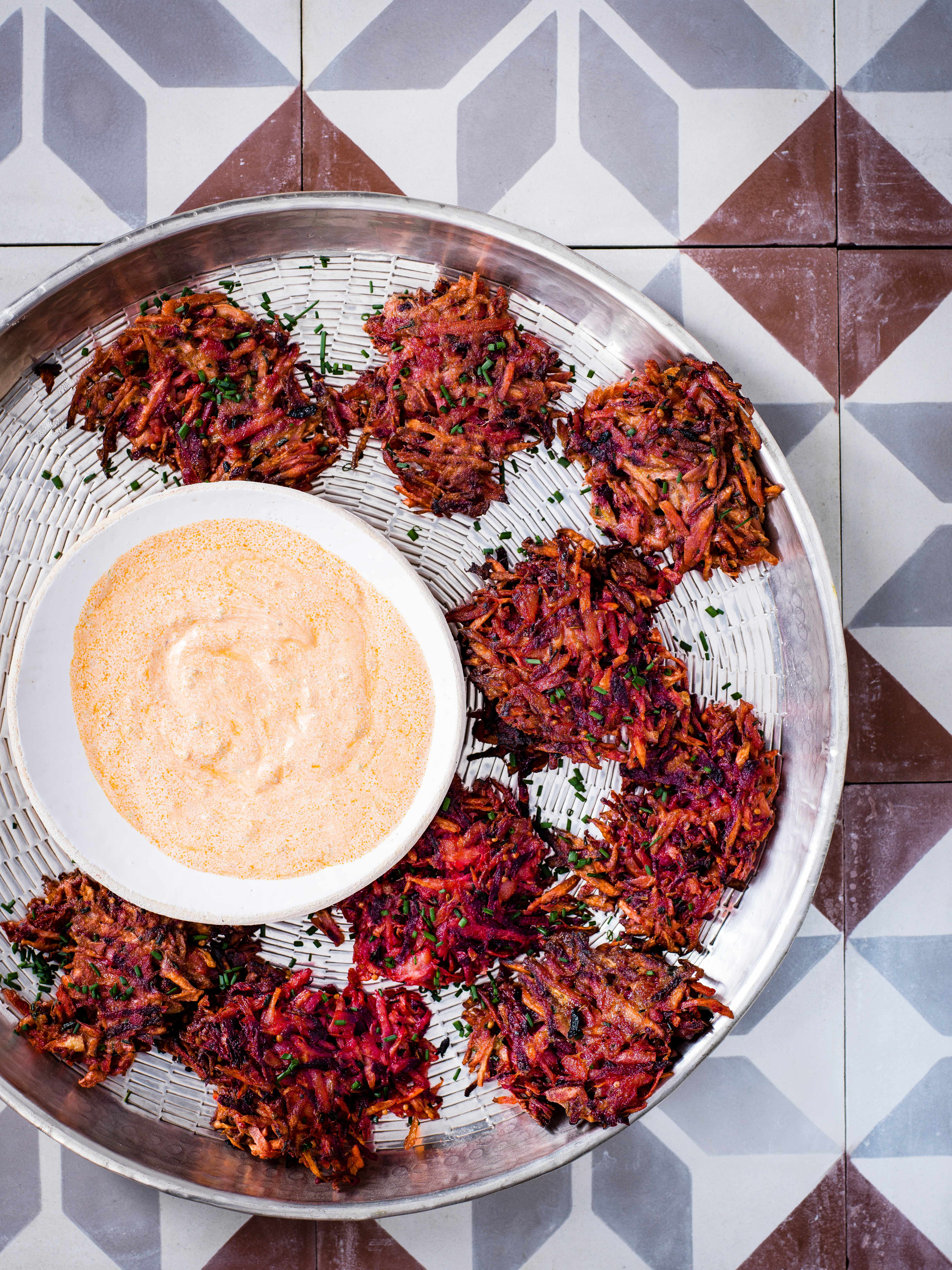 Veggie Fritters With Harissa