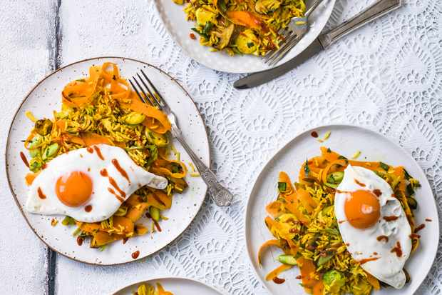 Vegetable Fried Rice Recipe with Turmeric