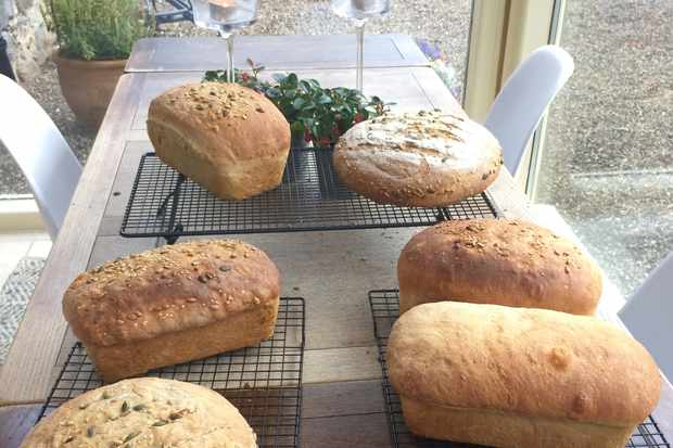 Bread making day, Ballintaggart Farm, Perthshire: 6 Bread loaves made and laid on the table
