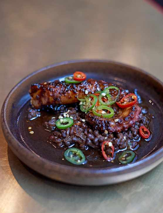 Black Lentil Recipe with Octopus