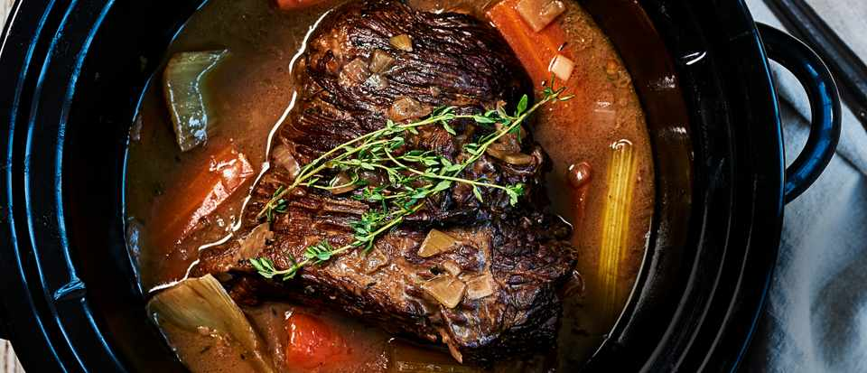 Slow Cooker Brisket Recipe With Red Wine Thyme And Onions
