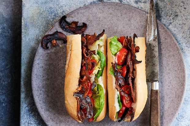 Vegan Sandwich Recipe with Mushroom Bacon
