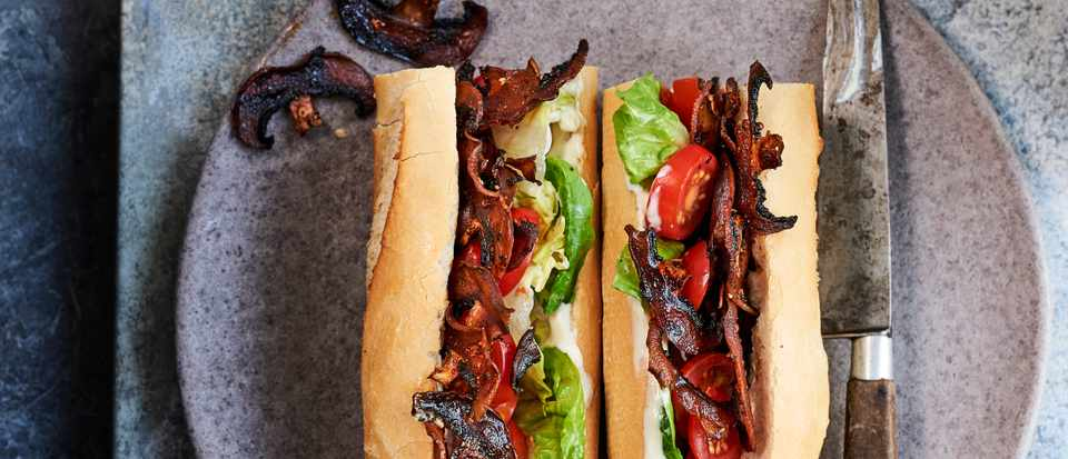 Vegan Sandwich Recipe with Mushroom Bacon