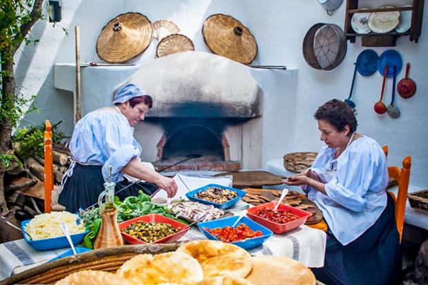 The kitchen at Su Gologone