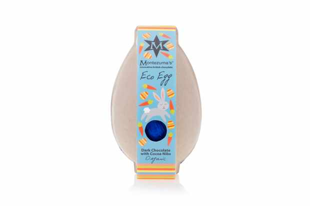 A dark chocolate egg is wrapped in blue foil and is packaged in eco-friendly grey box