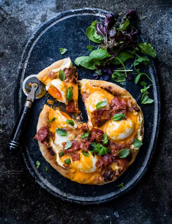 Egg Pizza recipe with Easy Hollandaise Sauce