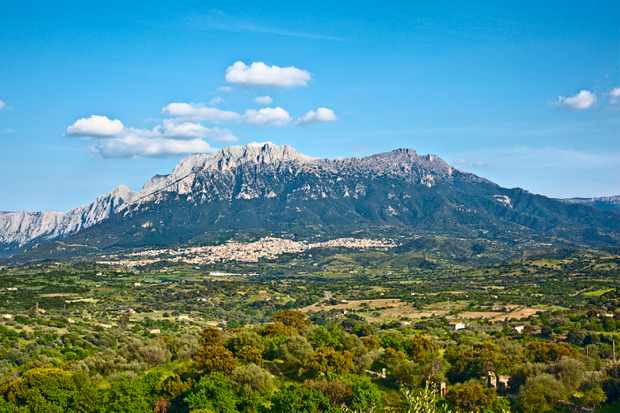 Town of Oliena under Supramonte mountain of Gennargentu mountain range. 16 km from Nuoro.