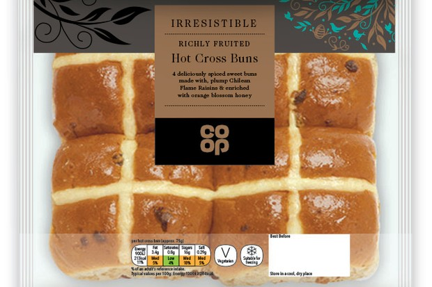 Coop Irresistible Richly Fruited Hot Cross Buns - £1.25