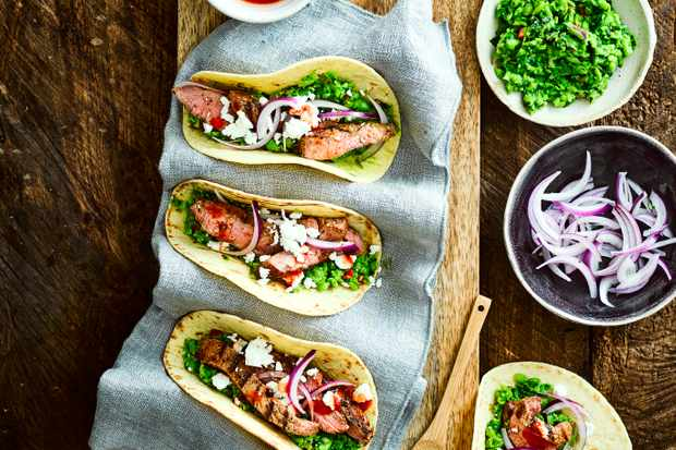 Lamb Tacos Recipe with Minted Pea Guacamole