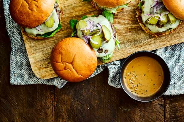 Steak Burger Recipe with Creamy Peppercorn Sauce