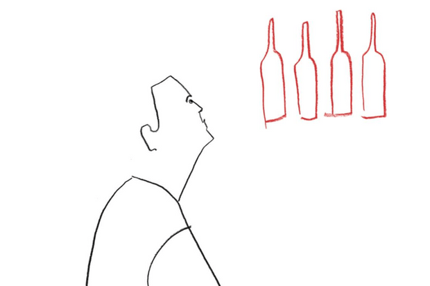 A white background with a black line drawing of a man looking up a four bottles of red wine drawn in red pencil