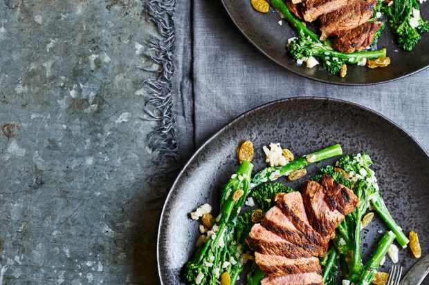 Lamb Leg Steak Recipe with Broccoli, Pine Nut and Shallot Dressing