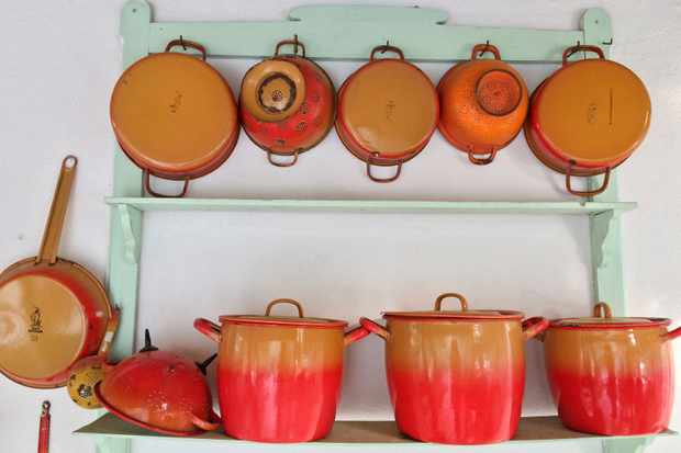 Colourful cooking pots at Su Gologone