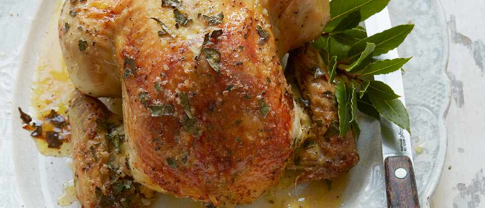 Salt Baked Chicken with Bay Leaves