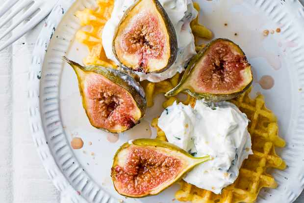 Grilled figs and whipped goat's cheese waffle recipe
