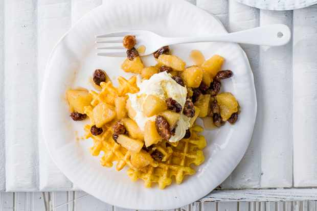 Spiced apple and sultana waffle recipe