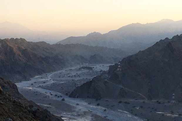 Dusk settles over Oman's lunar-like Musandam Peninsula