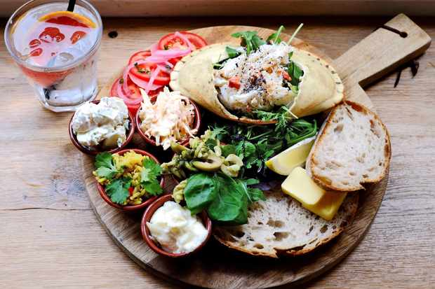 Crab lunchtime platter at Ginhaus deli in Llandeilo, Carmarthenshire