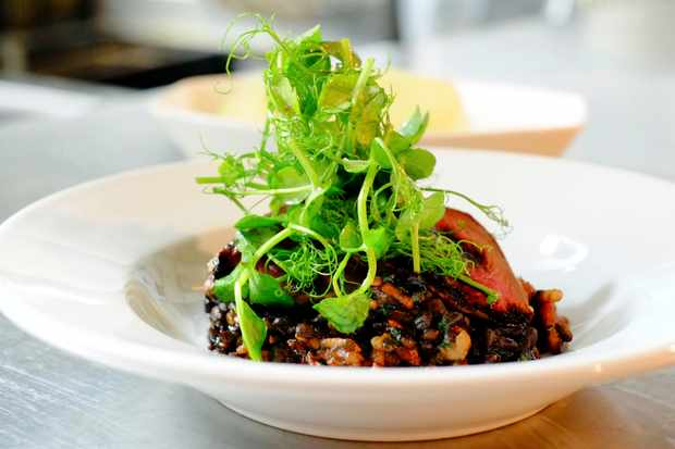 Wood pigeon breast with puy lentils at the inn at the sticks