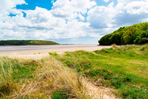 Llansteffan a village located on the River Tywi estuary Carmarthenshire Wales UK