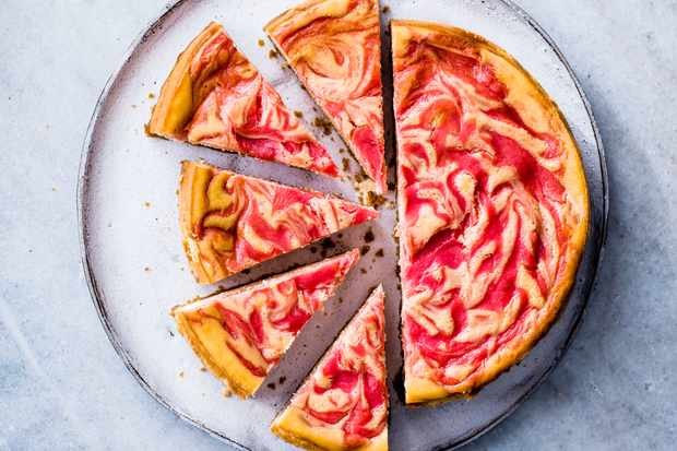 Baked Cheesecake with Rhubarb and Custard