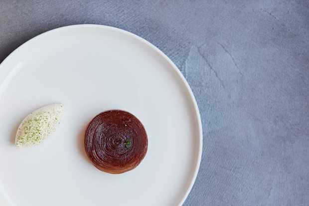 Caramelised Apple Douglas Fir Dessert at Roganic