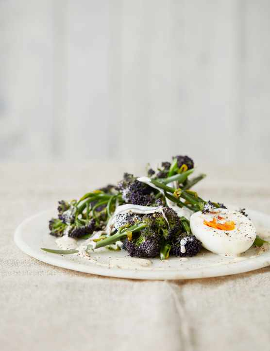 Healthy Broccoli Salad Recipe with Anchovies and Eggs