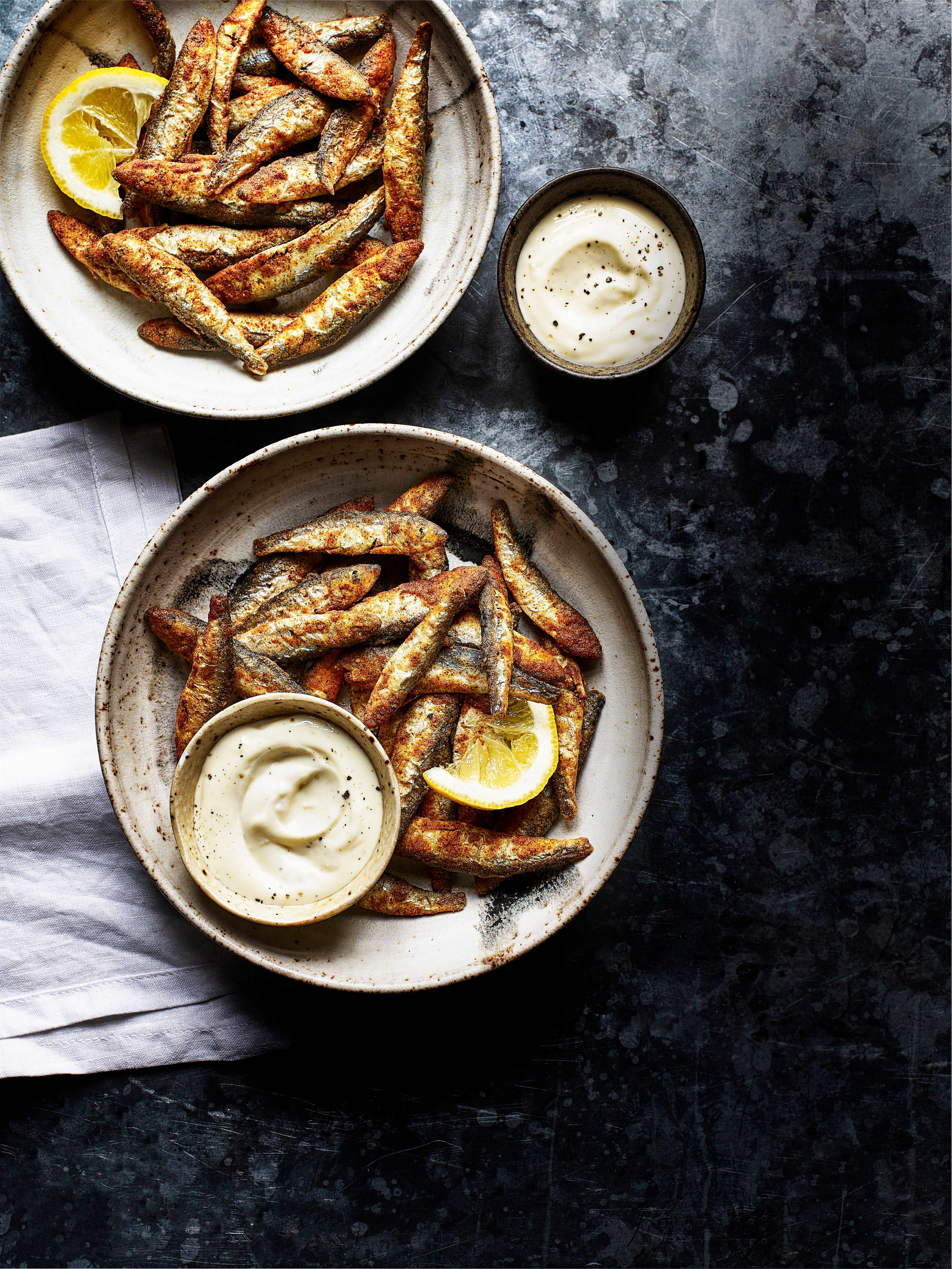 Devilled Whitebait with Roasted Garlic Mayo