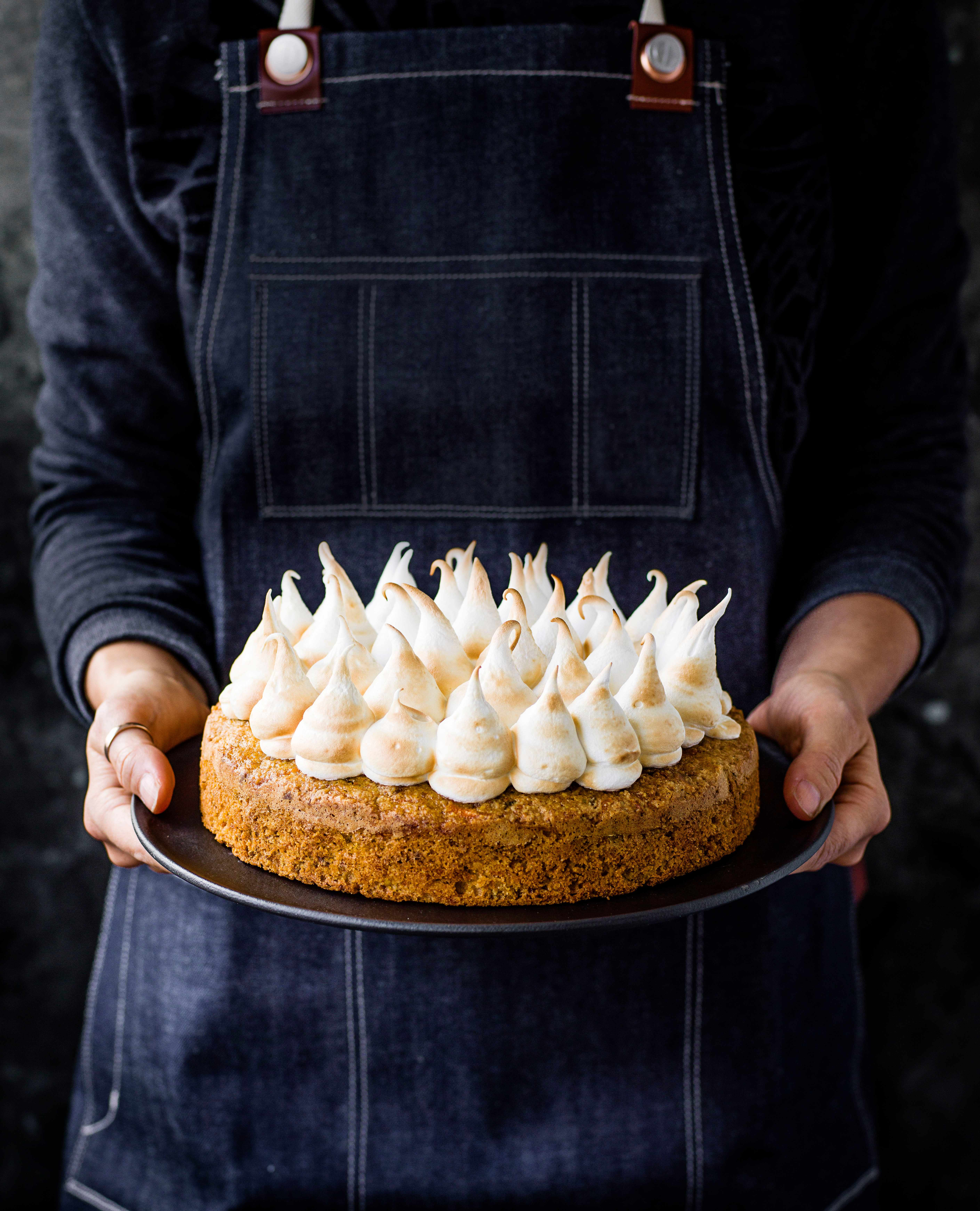 Carrot and Pistachio Cake with Marshmallow Icing