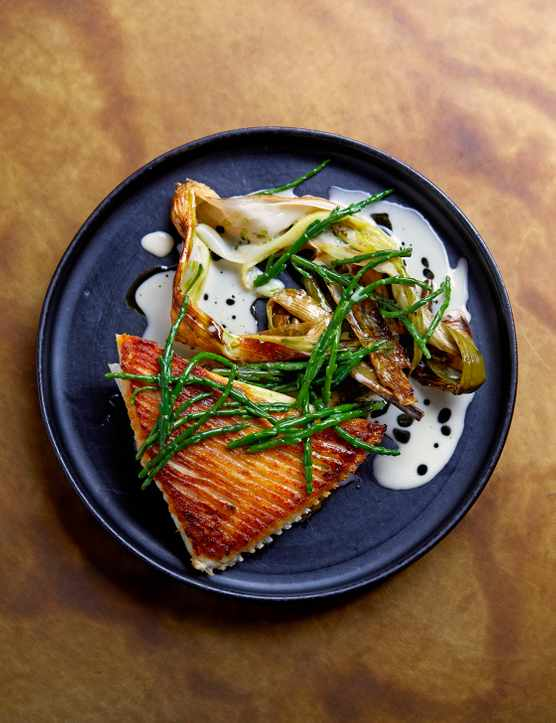 Roasted Skate Wing Recipe with Leeks and Samphire